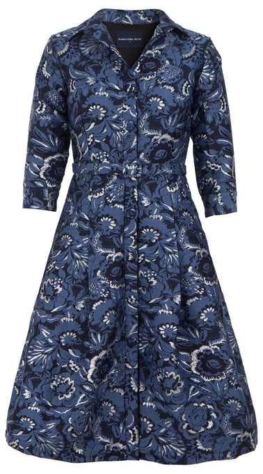Audrey Dress #3 Shirt Collar 3/4 Sleeve Silk Poly Brocade (Flamingo Brocade)