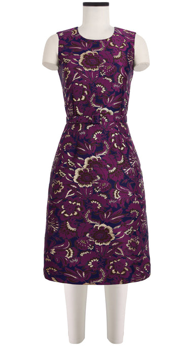 Harper Dress Crew Neck Sleeveless Silk Poly Brocade (Flamingo Brocade)