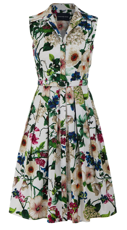 Audrey Dress #1 Shirt Collar Sleeveless Cotton Stretch (Florentine Flowers)