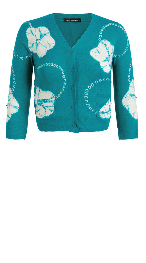 Charlotte Cardigan V Neck 3/4 Sleeve_70% Silk 30% Cashmere (Flower Ring Shibori)