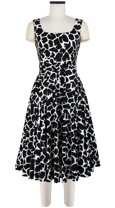 April Dress #1 Open U Neck Sleeveless Long Length Cotton Stretch (Giraffe Masai)