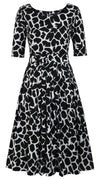 Florance Dress Boat Neck 1/2 Sleeve Long Length Cotton Stretch (Giraffe Masai)