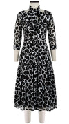 Florance Dress #4 V Neck 3/4 Sleeve Midi Length Cotton Musola (Giraffe Masai)