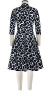 Audrey Dress #1 Shirt Collar 3/4 Sleeve Cotton Stretch (Giraffe Masai)