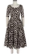 Aster Dress Boat Neck 1/2 Sleeve Midi Length Cotton Musola (Giraffe Masai)