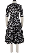 Florance Dress #2 Crew Neck 1/2 Sleeve Long Length Cotton Stretch (Giraffe Masai)