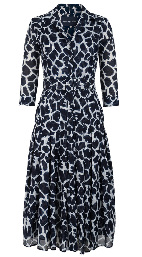 Audrey Dress #4 Shirt Collar 3/4 Sleeve Midi Length Cotton Musola (Giraffe Masai)