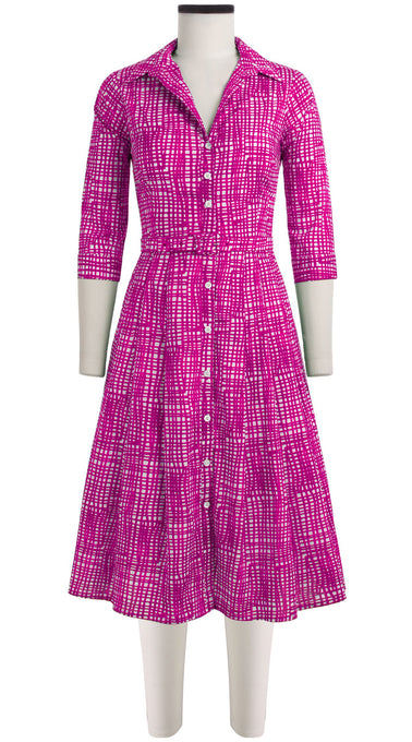 Audrey Dress #3 Shirt Collar 3/4 Sleeve Long length Cotton Stretch (Grau Gingham)