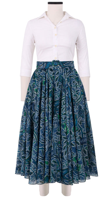 Aster Skirt #1 with Belt Midi Length Cotton Musola (Greek Mosaic)