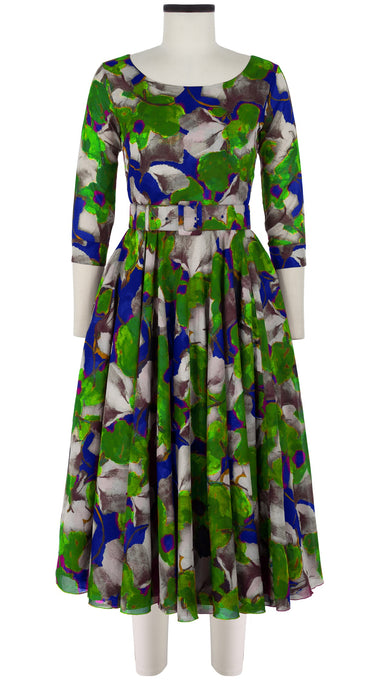 Aster Dress Boat Neck 3/4 Sleeve Midi Length Cotton Musola (Green Field)