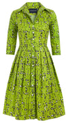 Audrey Dress #1_Guggenheim in Lime Green_Cotton Stretch_Shirt Collar 3/4 Sleeve