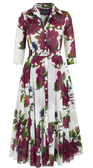 Avenue Dress #2 Shirt Collar 3/4 Sleeve Midi +7 Length Cotton Musola (Gypsy Queen)