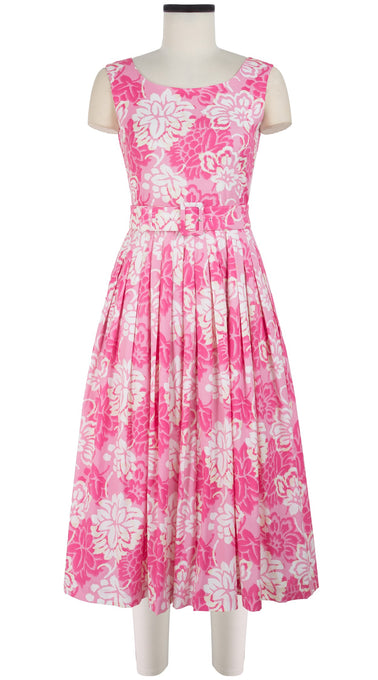 Florance Dress Boat Neck Mini Cap Sleeve Midi Length Cotton Stretch (Hawaiian Vintage Pastel)