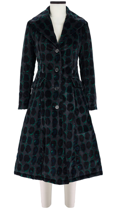 Antonina Coat Shirt Collar Long Sleeve Long Length Velveteen (Hazy Dots)