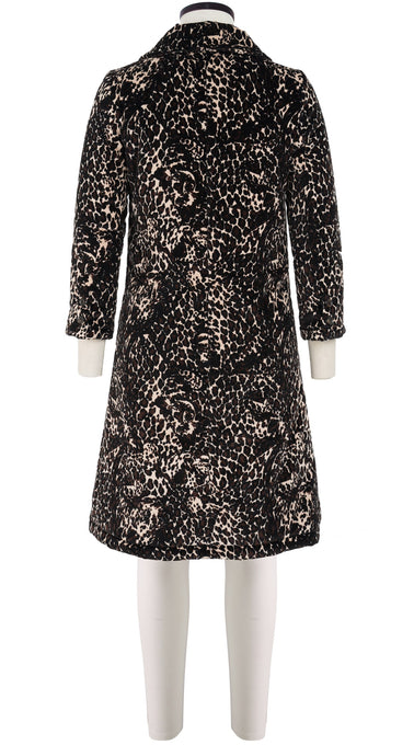 Hana Coat Shirt Collar Long Sleeve Long Length Velveteen (Heart Leopard Ivory)