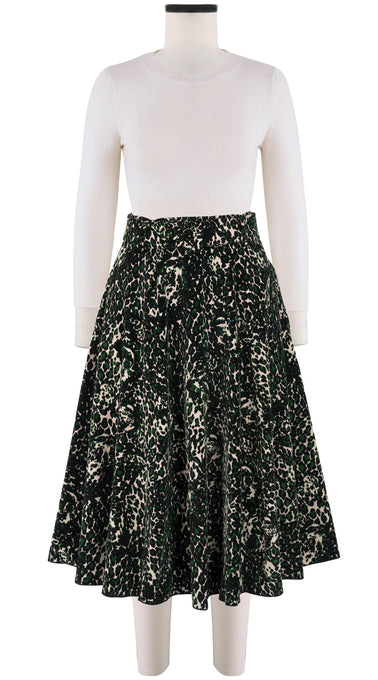 Avenue Skirt Long +3 Length Velveteen (Heart Leopard Ivory)