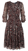 Florance Dress #4 Crew Neck Long Puff Sleeve Silk (Heart Leopard White)