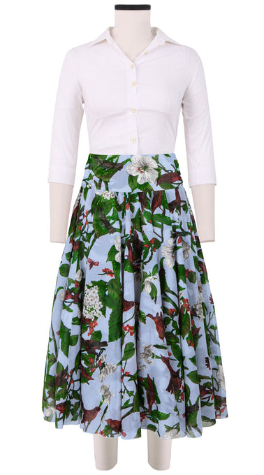 Aster Skirt with Yoke Midi Length Cotton Musola (Hibiscus and Bird Bright)