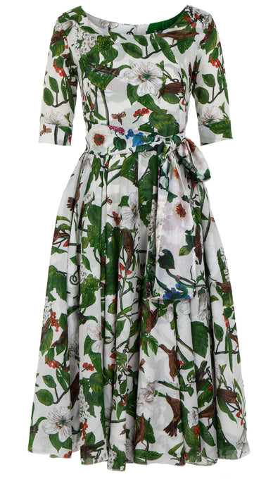 Aster Dress Boat Neck 1/2 Sleeve Midi Length Cotton Musola (Hibiscus and Bird Bright)