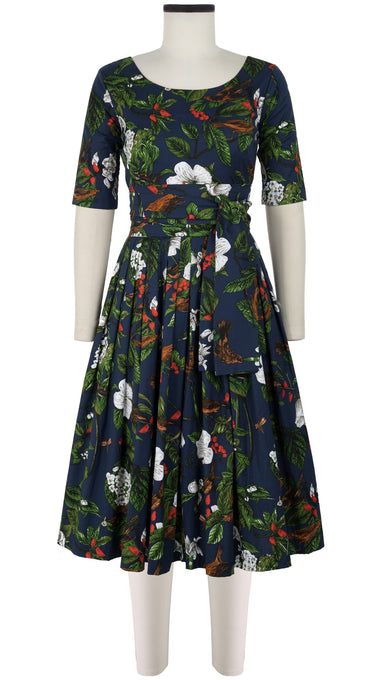 Florance Dress #2 Boat Neck 1/2 Sleeve Long Length Cotton Stretch (Hibiscus and Bird Dark)