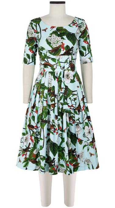 Florance Dress #2 Boat Neck 1/2 Sleeve Long Length Cotton Stretch (Hibiscus and Bird Bright)