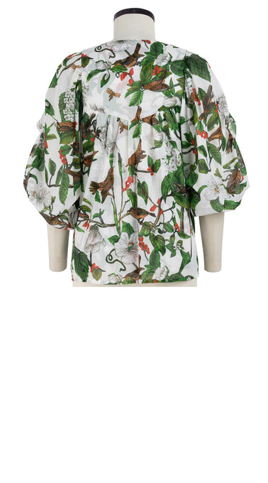 Anastasia Blouse Crew Slit Neck 3/4 Sleeve Cotton Musola (Hibiscus and Bird Bright)