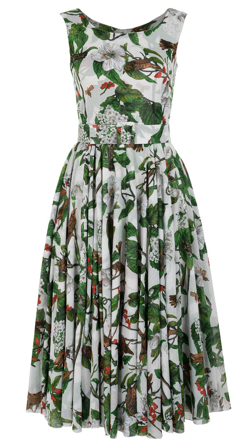 Aster Dress Boat Neck Mini Cap Sleeve Midi Length Cotton Musola (Hibiscus and Bird Bright)