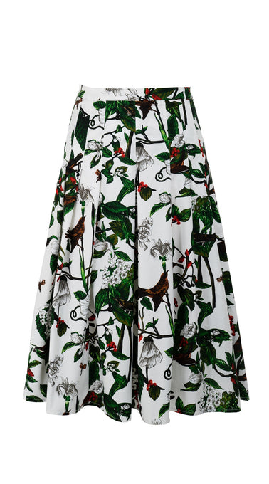 Zeller Skirt Midi Length Cotton Stretch (Hibiscus and Bird Bright)