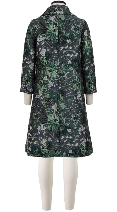 Hana Coat Shirt Collar Long Sleeve_Silk Poly Brocade_Silk Poly Brocade_Holiday Brocade_Green