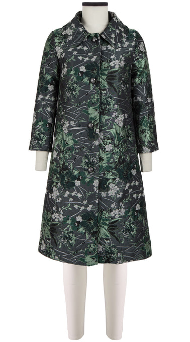 Hana Coat Shirt Collar Long Sleeve_Silk Poly Brocade_Holiday Brocade_Green