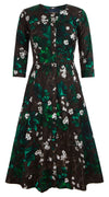 Audrey Dress #3 Crew Neck 3/4 Sleeve Long Length Cotton Stretch (Holiday Print)