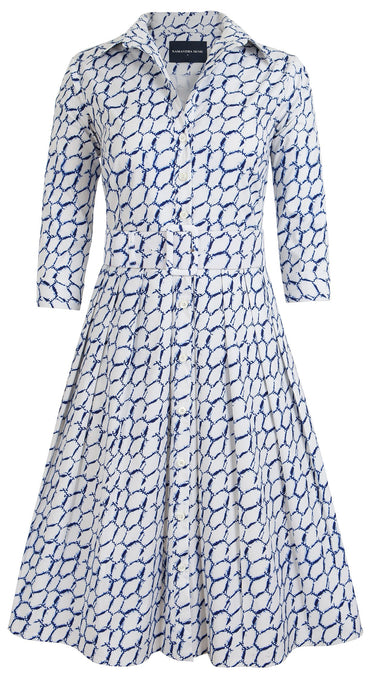 Audrey Dress #1_Honeycomb Shibori in Cobalt Blue_Cotton Stretch_Shirt Collar 3/4 Sleeve