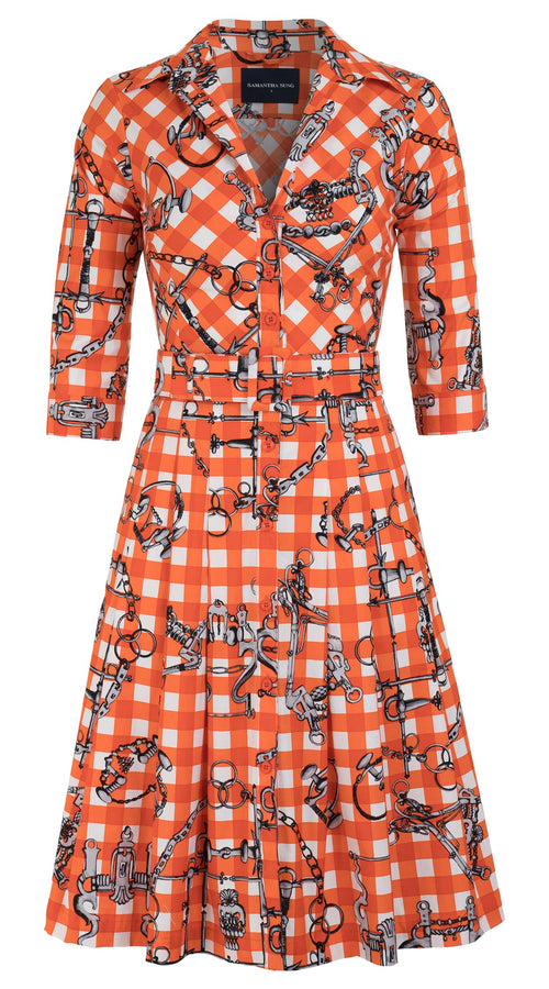 Audrey Dress #3 Shirt Collar 3/4 Sleeve Cotton Stretch (Horse Chain Gingham)