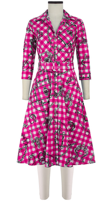 Abel Dress New Shirt Collar 3/4 Sleeve Long Length Cotton Stretch (Horse Chain Gingham)
