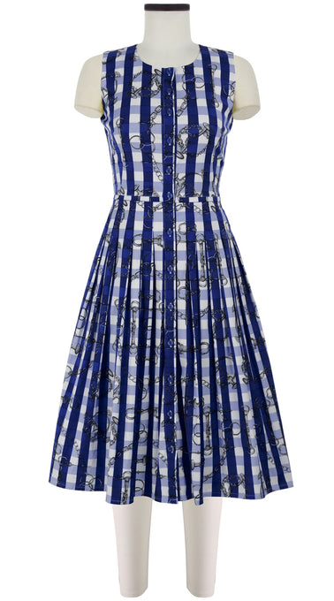 Audrey Dress #2 Crew Neck Sleeveless Long Length Cotton Stretch (Horse Chain Gingham)
