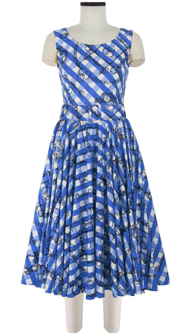 April Dress Boat Neck Mini Cap Sleeve Midi Cotton Stretch (Horse Chain Gingham)