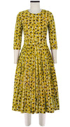 Florance Dress #2 Crew Neck 3/4 Sleeve Midi Length Cotton Stretch (Hounds Dots Ivory)