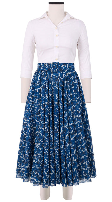 Aster Skirt #1 with Belt Midi Length Cotton Musola (Hounds Dots)