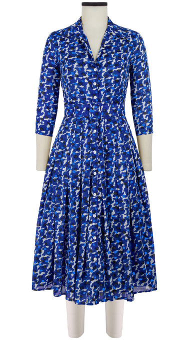 Audrey Dress #4 Shirt Collar 3/4 Sleeve Midi Length Cotton Musola (Hounds Dots Bright)