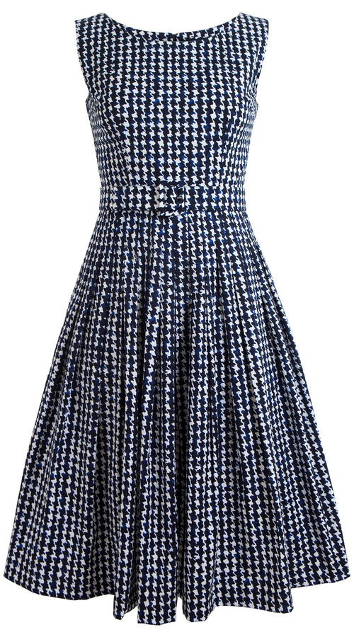 May Dress #2 Boat Neck Sleeveless Cotton Stretch (Houndstooth)