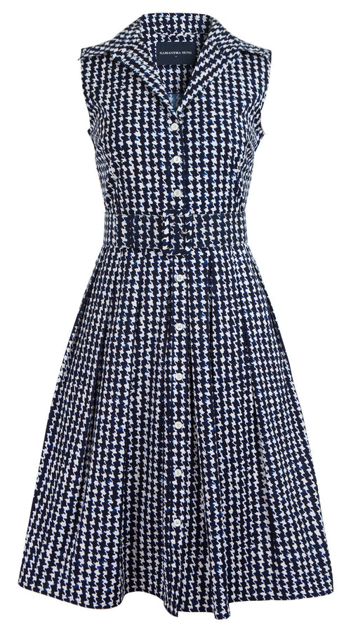Audrey Dress #1_Houndstooth in White Indigo_Cotton Stretch_Shirt Collar Sleeveless