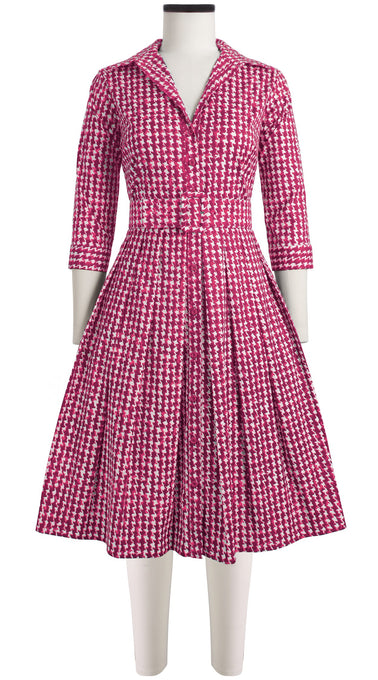 Audrey Dress #1 Shirt Collar 3/4 Sleeve Cotton Stretch (Houndstooth)