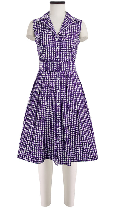 Audrey Dress #1 Shirt Collar Sleeveless Cotton Stretch (Houndstooth)