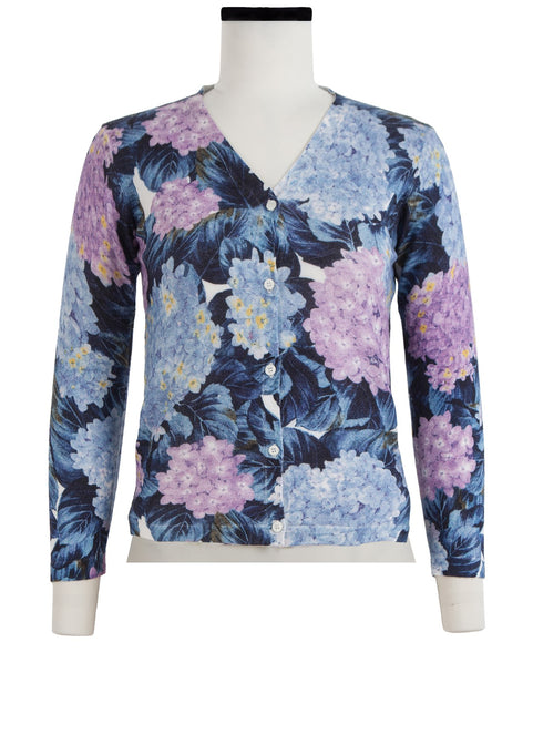 Charlotte Cardigan V Neck 3/4 Sleeve_70% Silk 30% Cashmere_Hydrangea_Orchid