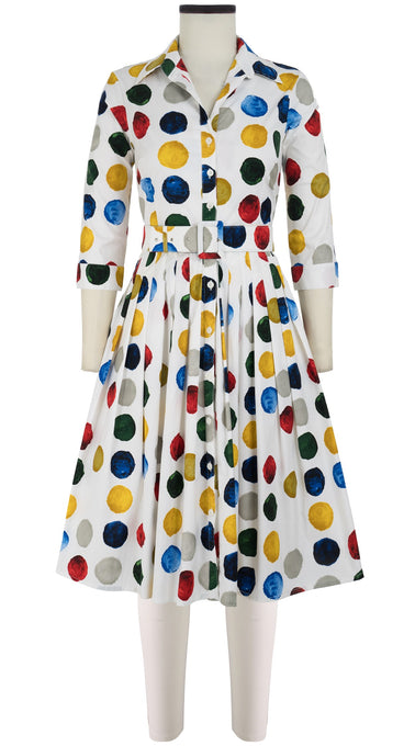 Audrey Dress #2 Shirt Collar 3/4 Sleeve Cotton Stretch (Impressionist Dots)