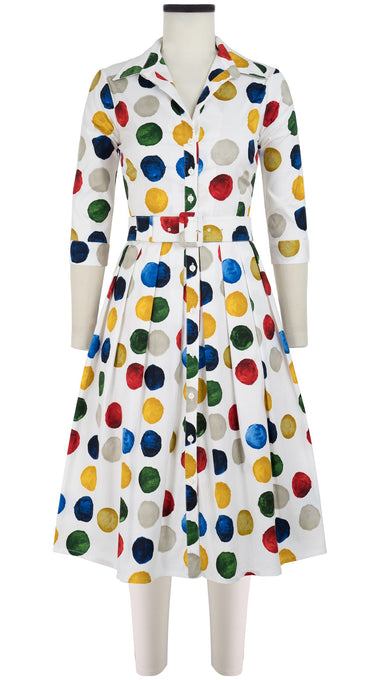Audrey Dress #1 Shirt Collar 3/4 Sleeve Long Length Cotton Stretch (Impressionist Dots)