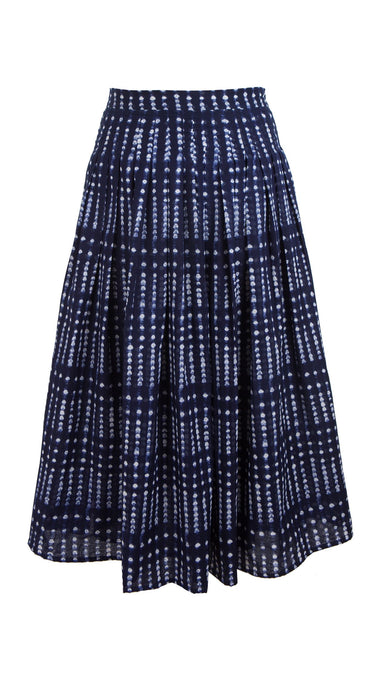 Florance Skirt Midi Plus Length Cotton Musola (Knot Shibori Bright)