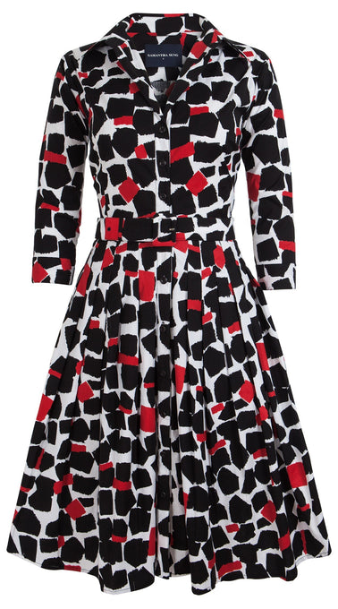 Audrey Dress #1_Koons in Black Indian Red_Cotton Stretch_Shirt Collar 3/4 Sleeve