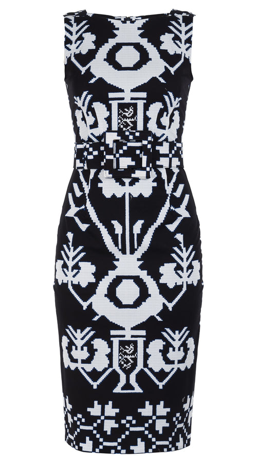 Celine Dress High Boat Neck Sleeveless Long Length with Hamilton Belt Cotton Dobby Stretch (Kos Embroidery Ground)