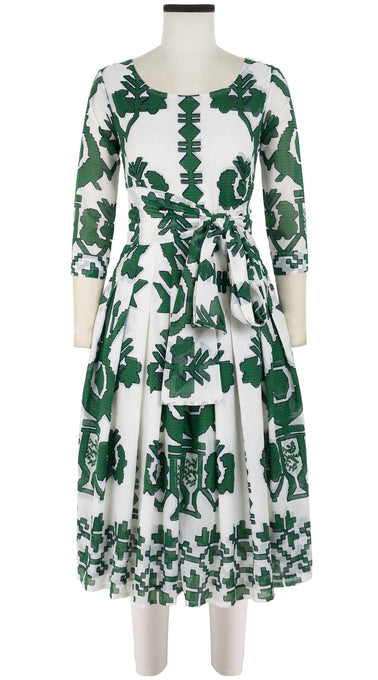 Florance Dress #4 Boat Neck 3/4 Sleeve Long +3 Length Cotton Musola (Kos Embroidery White)